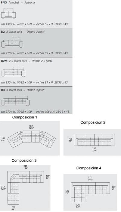 Diagrama sofá Soleado de Gamma