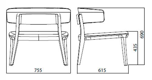 Diagrama sillón Porta Venezia Lounge de Infiniti