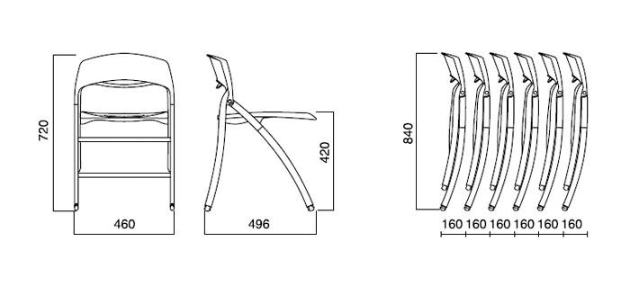 Diagrama silla plegable Arkua de Infiniti