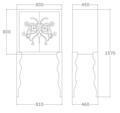 Diagrama aparador de diseño Mariposa de Küpu