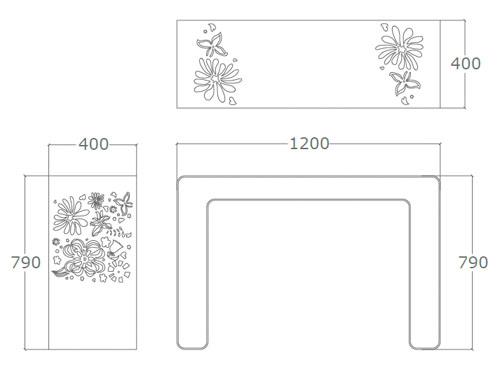 Diagrama consola mesa de diseño Ikebana de Küpu