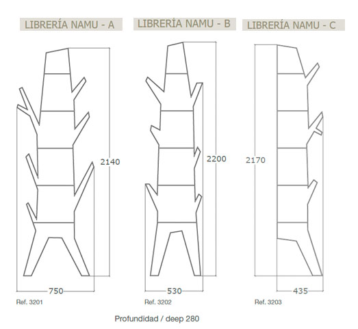 Diagrama estantería de diseño Namu de Küpu