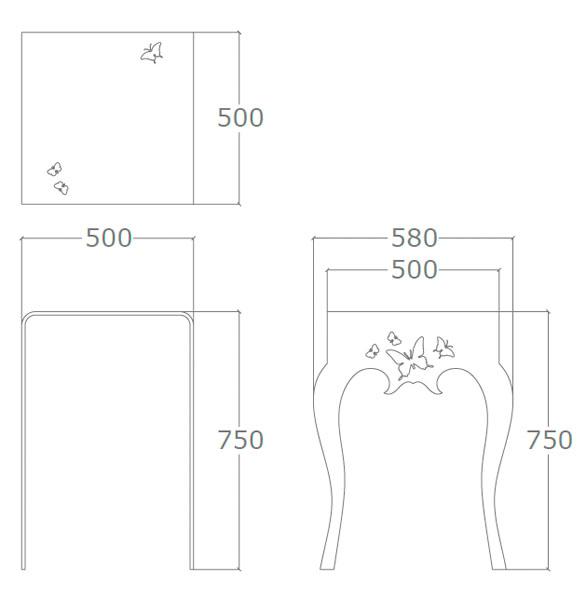 Diagrama mesa auxiliar Mariposa alta de Küpu