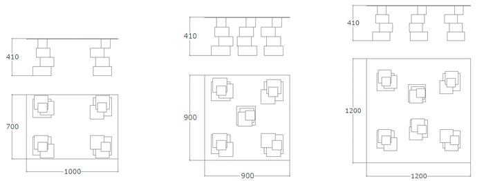 Diagrama mesa de centro Cubos de Küpu