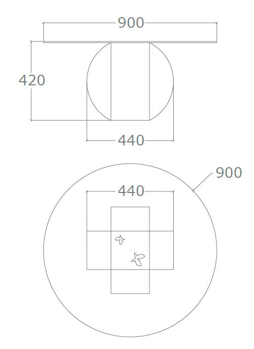 Diagrama mesa de centro Esfera de Küpu