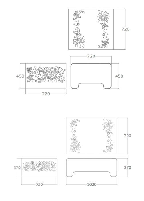 Diagrama mesa de centro Ikebana alta y baja de Küpu