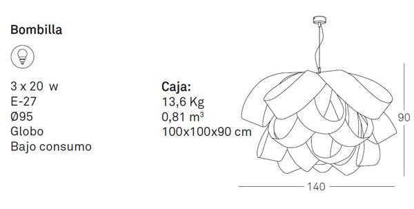 Medidas Lámpara de diseño Agatha SG en madera natural Luzifer