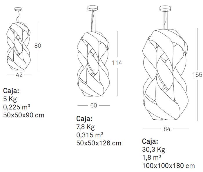 Medidas Lámpara de suspensión de diseño Ánfora Luzifer