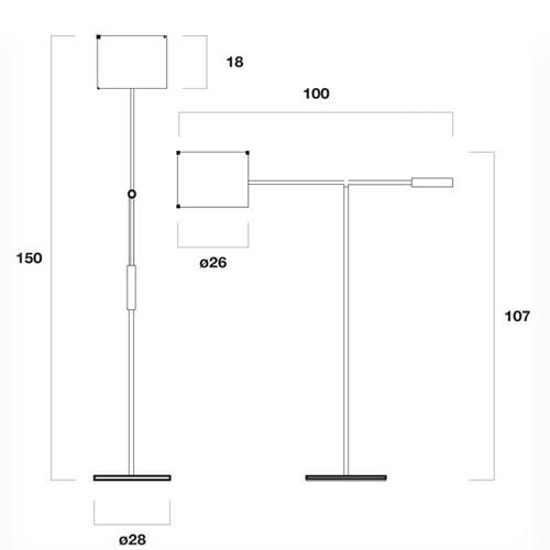 Medidas de Libra lámpara de pie