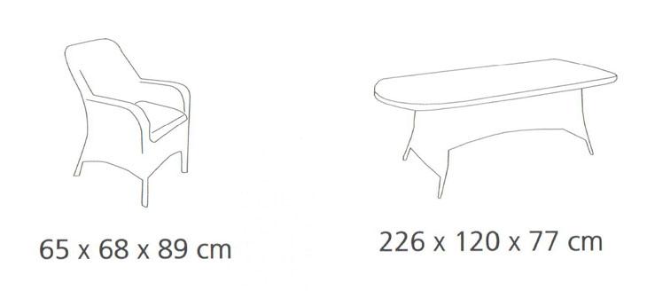Diagrama del comedor de exterior Ocean