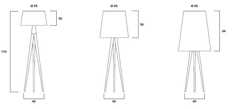Diagrama de medidas de la lámpara Triana