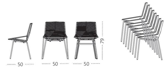 Medidas silla ecológica de diseño Green Mobles 114