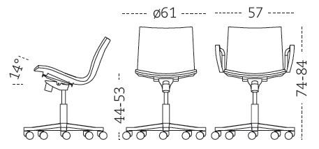 Medidas silla de oficina con ruedas Gimlet Mobles 114
