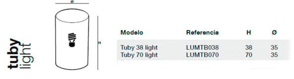 Diagrama de medidas lámpara Tuby