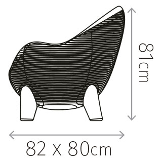 Diagrama de medidas sillón Aruba