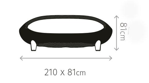Diagrama de medidas del sofá Jamaica