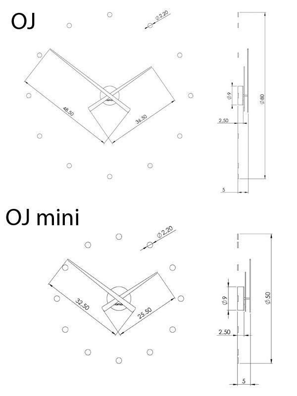 Medidas reloj de pared moderno OJ y OJ mini de Nomon