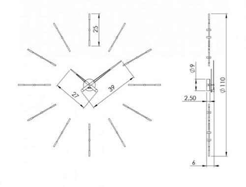Medidas reloj moderno de pared Merlín 12i Nomon