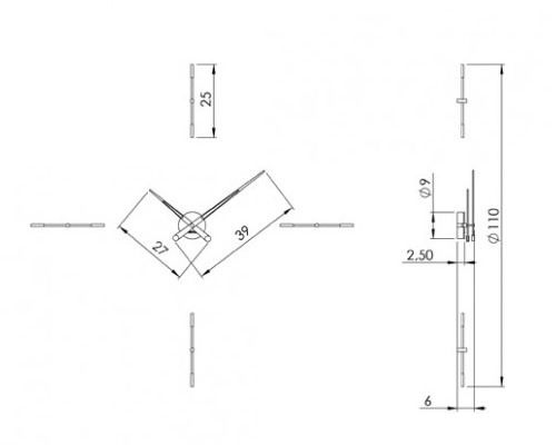 Medidas reloj moderno de pared Merlín 4i Nomon