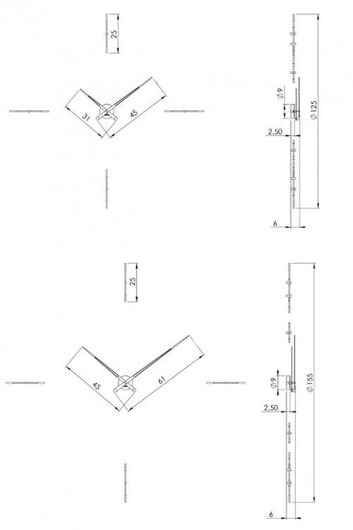 Medidas reloj de pared de madera Merlín 4N Nomon