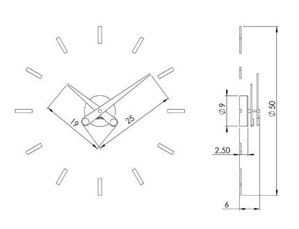 Medidas reloj de pared Puntos Suspensivos de Nomon