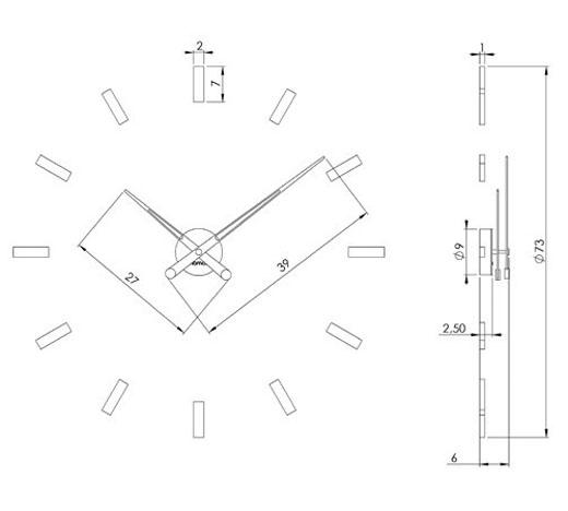 Medidas reloj de pared Tacón 12 n Gold Nomon