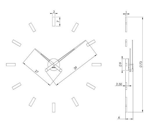 Medidas reloj de pared Tacón 12i Nomon