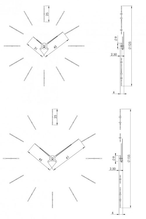 Medidas reloj moderno de pared Merlín 12 n Nomon