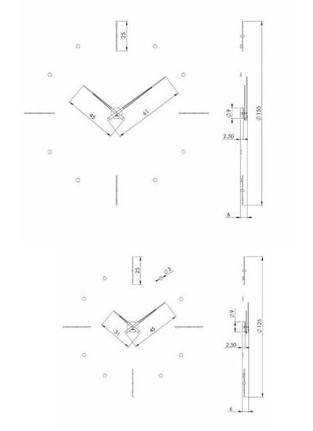 Medidas reloj de pared de madera Mixto n Nomon