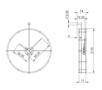 Medidas reloj de pared en madera y acero Doble O Nomon
