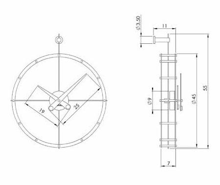 Medidas reloj de pared moderno 2 Puntos de Nomon