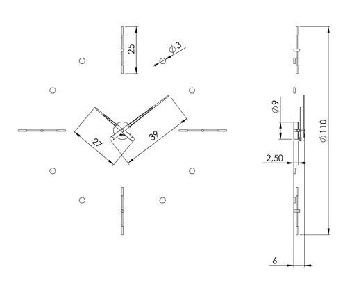 Medidas reloj de pared moderno Mixto i Nomon
