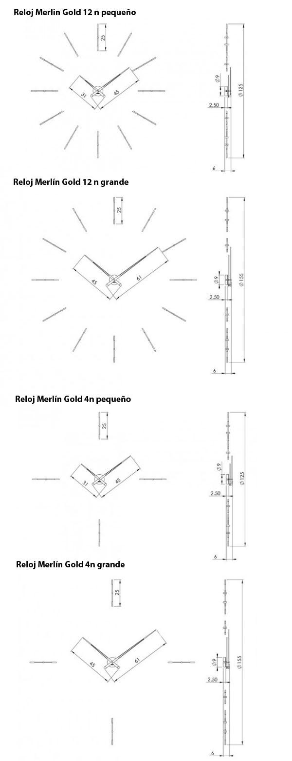 Medidas reloj de pared Merlín n Gold de Nomon