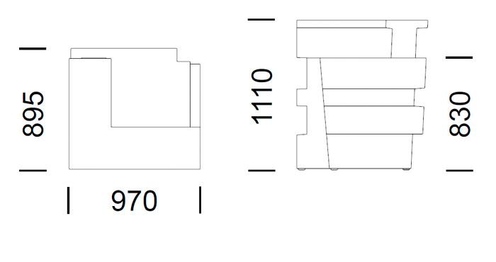Diagrama barra de bar esquina Tetris de Pedrali
