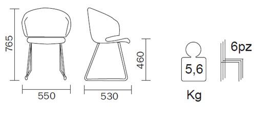 Diagrama Silla Grace de Pedrali