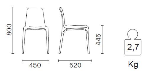 Diagrama de silla de madera de diseño Frida de Pedrali