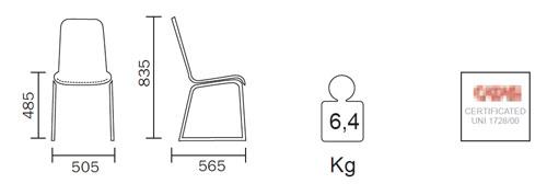 Diagrama de la silla Trend de Pedrali