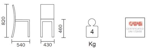 Diagrama de la silla de roble Young de Pedrali