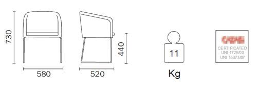 Diagrama Sillón de diseño Allure de Pedrali