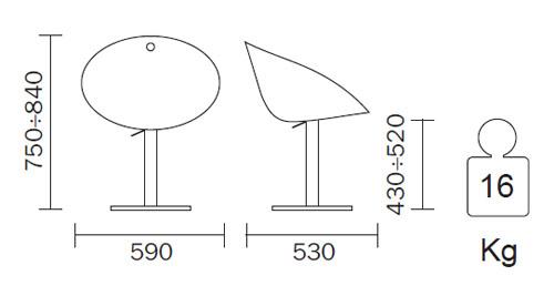 Silla Gliss giratoria. Diagrama con medidas.