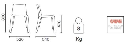 Diagrama de la silla de Piel Mood de Pedrali