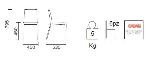 Diagrama de Silla de roble Zen de Pedrali