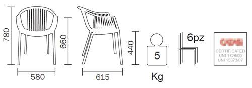 Diagrama del sillón Tatami de la marca italiana Pedrali