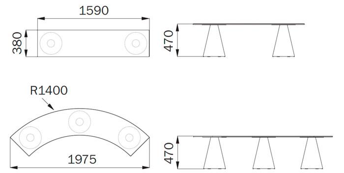 Diagrama banco Ikon bench de Pedrali