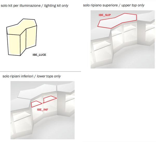 Diagramas de las configuraciones barra hostelería Iceberg de Pedrali
