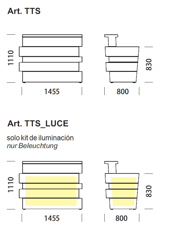 Diagrama de barra de bar con luz Tetris de Pedrali