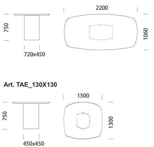 Diagrama Mesa de despacho o comedor Aero de Pedrali