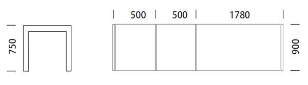 Medidas de mesa Exteso de Pedrali