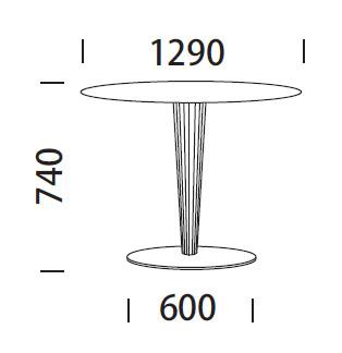 Medidas de la mesa de diseño Krystal de Pedrali