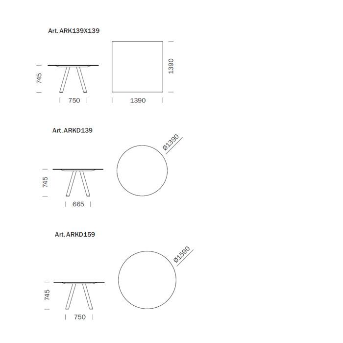 Diagrama mesa de diseño Arki-Table de Pedrali. Cuadrada y circular